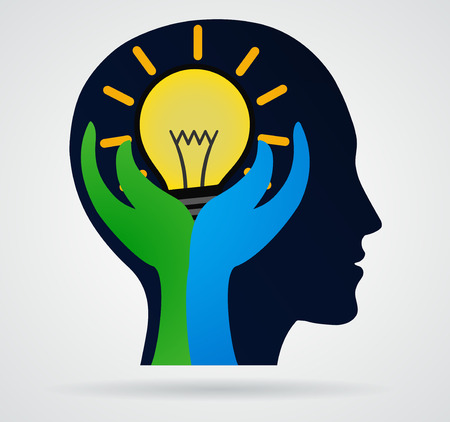 intelligent partnership: Thinking head  Palm with rays of light from the lamp, business concept, new idea
