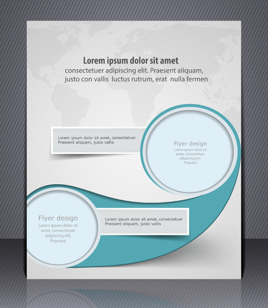 Vector layout business flyer with world map, magazine cover, template or corporate banner design, Vector