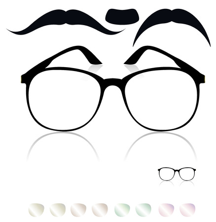 Classic glasses, mustache  Set of colored lenses Stock Vector - 27776186