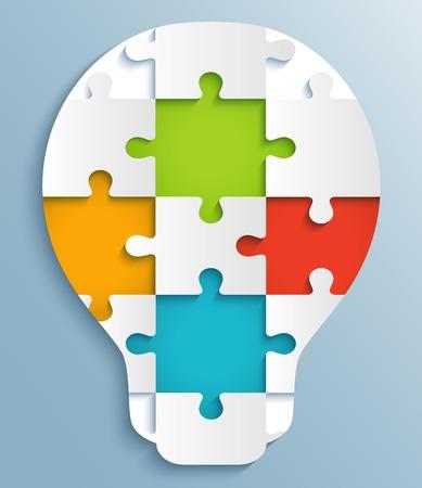 다채로운 퍼즐 조각 전구 크리 에이 티브 디자인의 형태로 퍼즐의 일부