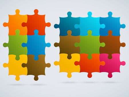 Parts of colorful puzzles Set of 9, 6 vector pieces Vektorové ilustrace