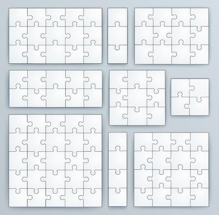 piezas de rompecabezas: Jigsaw Puzzle plantillas Juego de rompecabezas de 15, 3, 12, 10, 9, 4, 16, 25 piezas Vectores