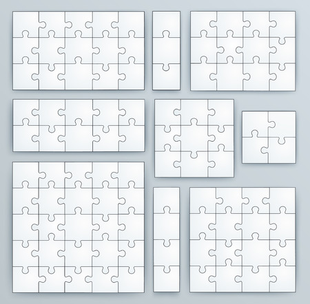 Jigsaw Puzzle Templates  Set of puzzle 15, 3, 12, 10, 9, 4, 16, 25 pieces Vector