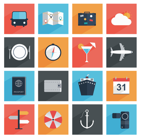 Flat travel icons with long shadow, tourism and vacation   Vector
