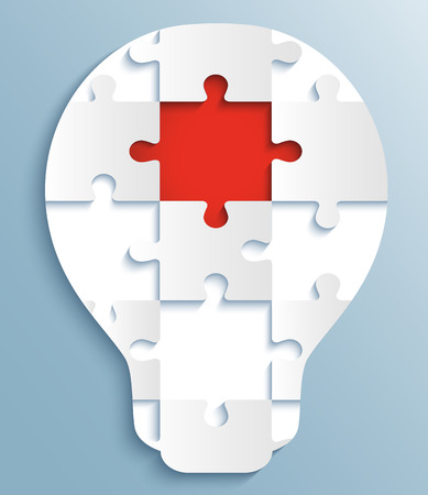 Part of puzzles in the form of light bulbs  �reative design with red piece of the puzzle Иллюстрация