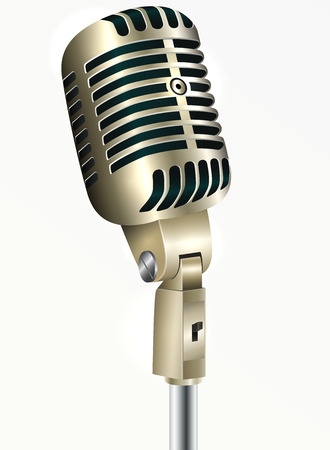 Vintage microphone golden color on a white background Illustration