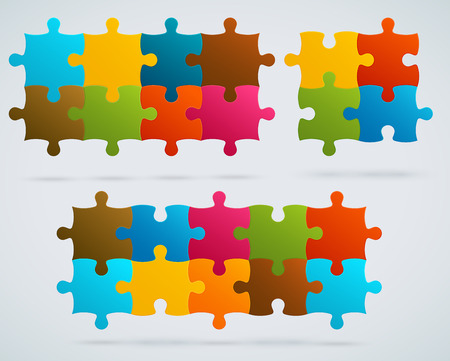 Parts of colorful puzzles  Set of 8, 4, 10 vector pieces Illustration