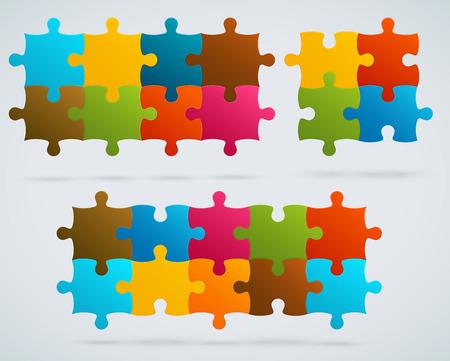 piezas de puzzle: Piezas de rompecabezas de colores Juego de 8, 4, 10 piezas de vectores Vectores