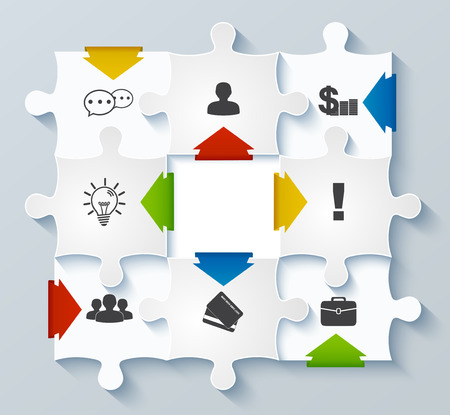 Parts puzzles with icons  Business concept, infographics, web design, mobile design, media Vector