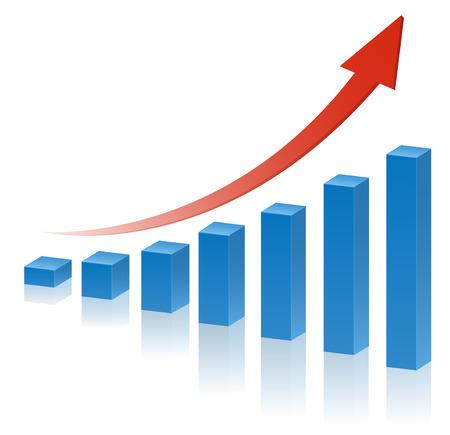 빨간색 상승 화살표와 함께 3D 비즈니스 그래프