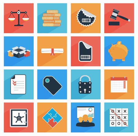 e auction: Flat  business and office icons with long shadow,  SEO website, web and mobile apps