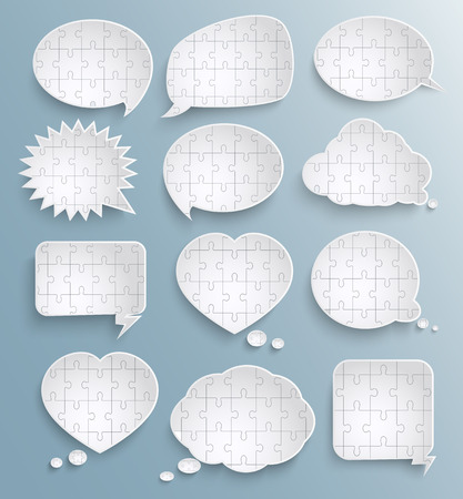 Abstract speech bubbles with pieces of paper puzzles Vector