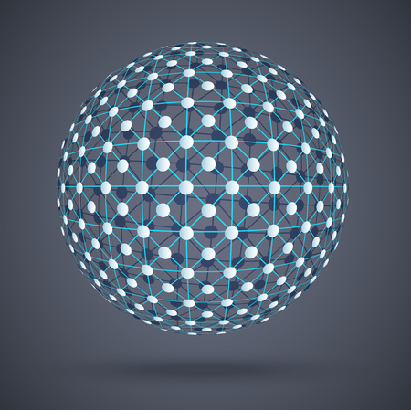 blue network: Network structure, global digital connections Illustration