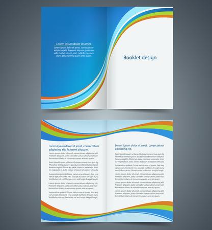 블루 bifold 브로셔 템플릿 디자인, 비즈니스 전단지, 소책자 일러스트