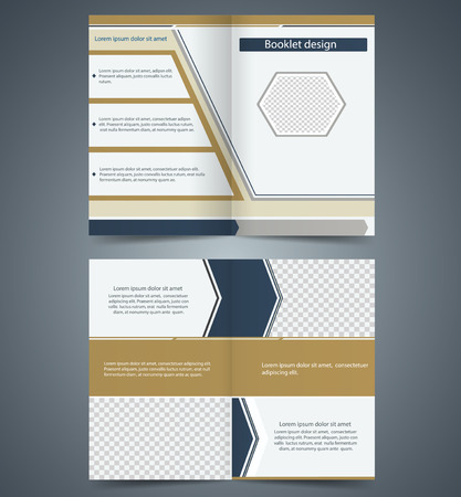 leaflets: Brown bifold  brochure template design, business leaflet, booklet