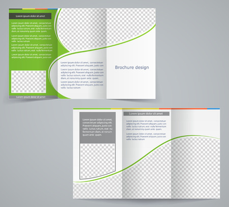 Tri-fold business brochure template, vector green design flyer Stock Vector - 27927159