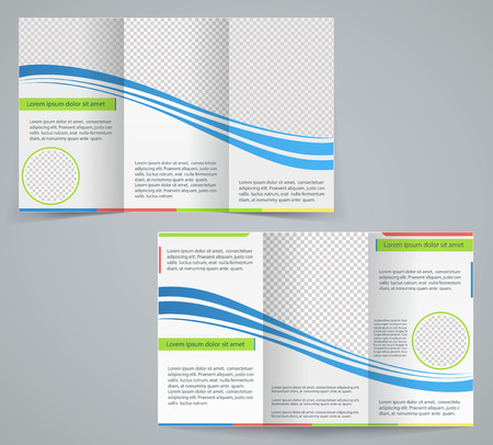 Tri-fold business brochure template, vector blue design flyer with stripes
