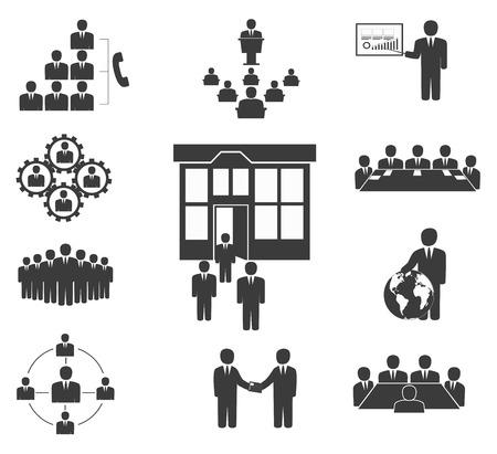 비즈니스 사람들이 사무실 아이콘, 회의