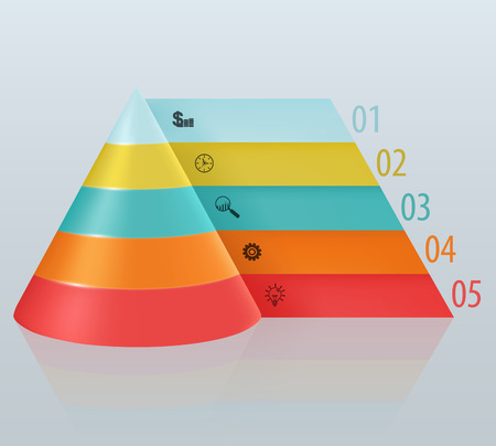 Financial pyramid with numbered tabbed Illustration