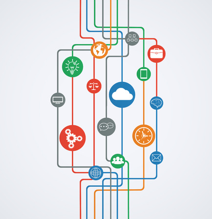 elearning: Network connections, information flow with icons