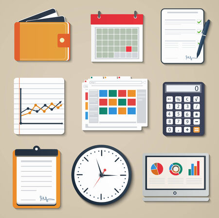 reporting: Set of business elements of marketing, reporting, working mobile web design icons