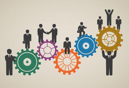 인력, 팀 작업, 모션 비즈니스 사람들이 성공을위한 동기 부여 일러스트