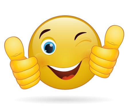 Thumb up émoticône, signe jaune de bande dessinée expression faciale Banque d'images - 27927096