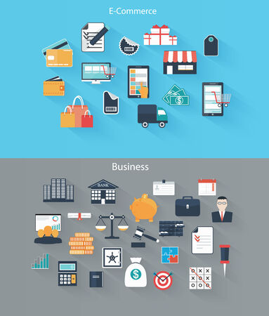 Set of flat icons for web and mobile devices, e-commerce, business Vector