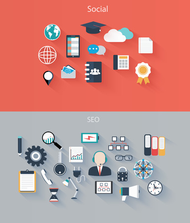 Set of flat icons for web and mobile devices, social, seo Stock Vector - 27927114