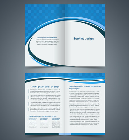 leaflets: Blue bifold brochure template design, business leaflet, booklet Illustration