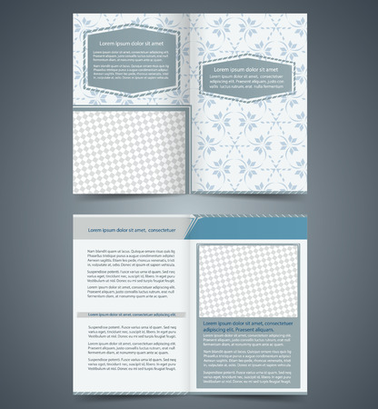 Empty bifold  brochure template design with pattern, business leaflet, booklet