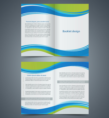 Blue brochure template design with green elements, layout business brochure, flyer template, booklet Vector