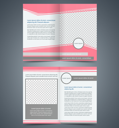 Empty bifold brochure template design with pink color, layout store flyer, Poster Magazine cover, booklet Vector