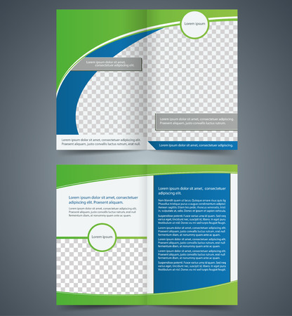 Empty bifold brochure template design with green color, booklet Vector