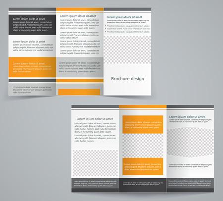 Tri-fold business brochure template, vector orange design flyer Stock Vector - 27927125