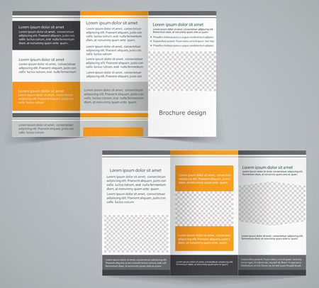 Tri-fold business brochure template, vector orange design flyer