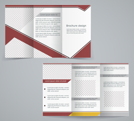 Tri-fold business brochure template, vector brown design flyer Vector