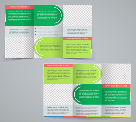 magazine stack: Tri-fold business brochure template, vector green design flyer