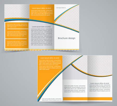 leaflets: Tri-fold business brochure template, vector orange design flyer