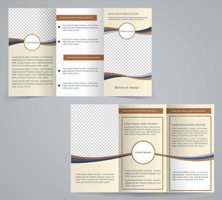 magazine stack: Tri-fold business brochure template, vector brown design flyer