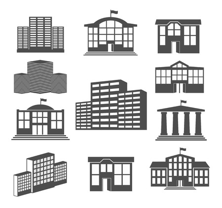 House icon set  Business buildings Vector