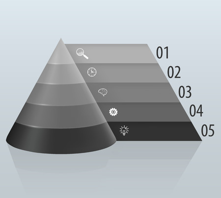 tabbed: Financial pyramid with numbered tabbed Illustration