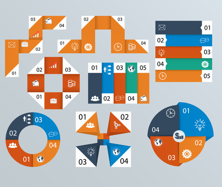 Elements of infographics, pie charts, step by step banners Vector