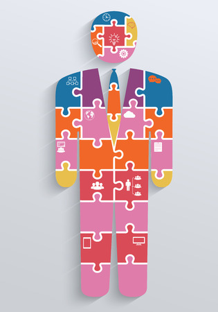 Infographics in the form of puzzles with icons, businessman Vector