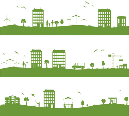 city with cartoon houses, green eco  panorama Illustration