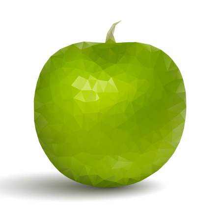Green apple fruit in origami style Vector