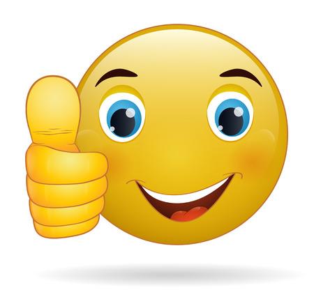 Thumb up émoticône, signe jaune de bande dessinée expression faciale
