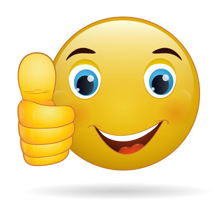 happy face: Thumb up emoticon, yellow  cartoon sign facial expression Illustration