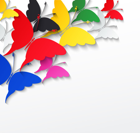Multicolored butterflies on a white background Vector