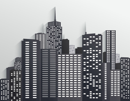 Black and white City Skyline Vector